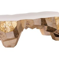 "Zoe 50"" Coffee Table, Gold"