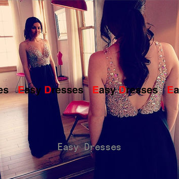 V-neck dress black dress backless dress Prom dress Bridesmaid dress Fashion dress Party Evening Dresses 2014