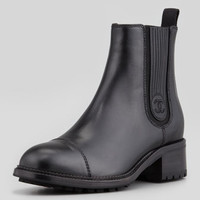 Pull-On Leather Chelsea Boot, Black