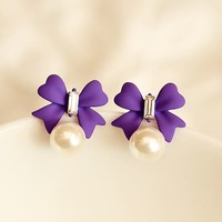 Bow and Pearl Color Fashion Earrings (Purple)