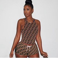 FENDI Trending Woman Stylish Print Short Sleeve Top Shorts Set Two Piece Coffee