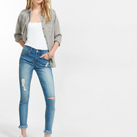 Mid Rise Distressed Stretch+ Performance Cropped Jean Leggings