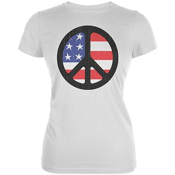 4th of July American Flag Peace Sign Distressed Halftone Juniors Soft T Shirt