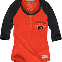 Philadelphia Flyers Mitchell and Ness T-Shirt - Flyers Orange/Black Flyers Burnout Henley Long Sleeve