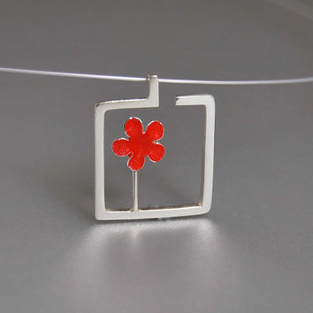 Blossoming Flower Pendant Necklace Enamel Resin Metalwork Geometric Square Steel Wire Modern Everyday Fashion Fresh Mood Gift Her Under 50