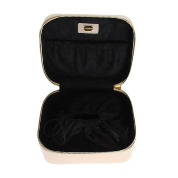 Dolce & Gabbana Beige Dauphine Leather Accessory Make Up Case