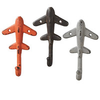 Vintage Airplane Heavy Duty Wall Hooks - Set of 3 - Antique Weathered Hangers