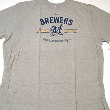 Milwaukee Brewers Majestic Short Sleeve T Shirt Gray Size 4XT