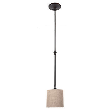 Sea Gull Lighting 61952-710 Stirling Burnt Sienna One-Light Mini-Pendant with Beige Linen Shade and Satin Etched Diffuser