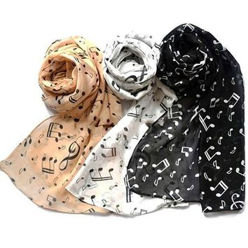 2016 Women Fashion Musical Note Chiffon Neck Scarf Shawl Scarves Long Beauty Women's Scarf