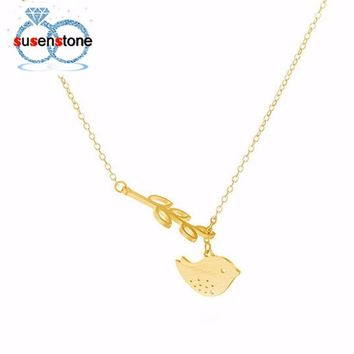 Leaf Tree Branch Hanging Bird Chain Necklace
