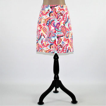 Colorful Paisley Skirt Women Medium Petite Cotton Skirt Pencil Skirt Size 8 Skirt Talbots Womens Clothing