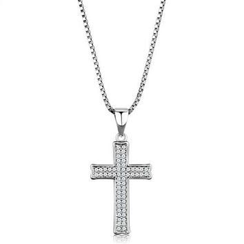 Faith and Shine - Clear CZ Cross Pendant Necklace