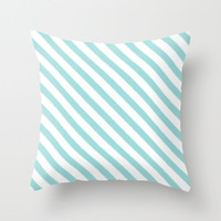Velveteen Pillow - Aqua Ikat Stripes - Tiffany Blue Throw Pillow - Housewares - Housewarming Gift - Accent Pillow - Girls Room Decor