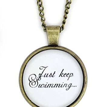 Just Keep Swimming Necklace Gold Tone NX27 Text Dome Cabochon Pendant Fashion Jewelry