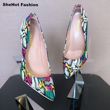 Women Multi-Color Snake Print 8/10/12 CM High Heel Pumps