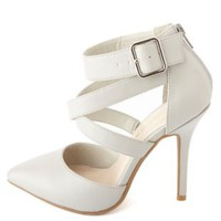 Crisscrossing Strappy Pointed Toe Pumps by Charlotte Russe - Gray