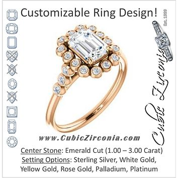 Cubic Zirconia Engagement Ring- The Chandni (Customizable Emerald Cut Cathedral-Style Clustered Halo Design with Round Bezel Accents)