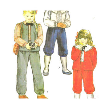McCalls 8308 Uncut Sewing Pattern Girls Pants or Knickers,  Jacket or Vest,  Blouse Size 4 School Clothes Vintage 1980s