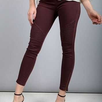 Wine Moto Zip Jegging