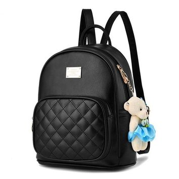 Women PU Leather Quilted Checkered Daily Use Backpack