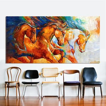 HDARTISAN Canvas Wall Art Three Horses Running Painting Animal Pictures For Living Room Home Decor No Frame