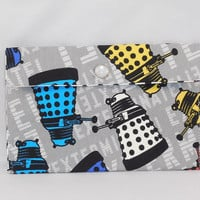 Fabric Pouch Made With Dr. Who Dalek Inspired Fabric
