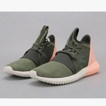 Women Running Sport Casual Shoes Sneakers Army green toe cap