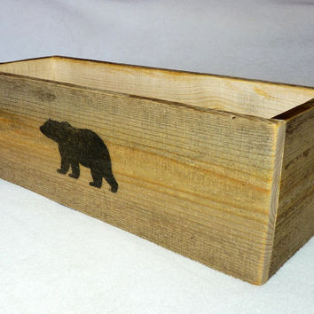 Rustic Wood Box with Bear - 18""