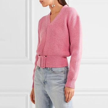 2018 Autumn Winter Runway Designer Pink Crop Sweater and Pullovers Women Long Sleeve V Neck Lace Up Knitted Jumper Tunic Clothes