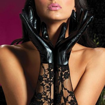 Black Lace and Vinyl Elbow-Length Gloves