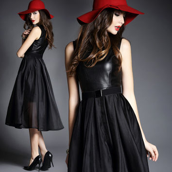 Black Pu Leather Panel Sleeveless Dress