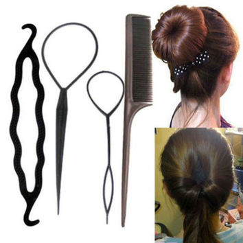 4Pcs/Set Black Plastic DIY Styling Tools Pull Hair Clips For Women Hairpins Hair Comb Bun Maker Twist Styling Hair Accessories
