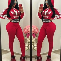 Adidas New fashion letter leaf print hooded long sleeve sweater top and pants two piece suit Red