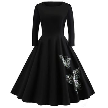 Kenancy Plus Size 5XL Women Vintage Dress Embroidery Butterfly Swing Rockabilly Retro Dress Party Vestidos Long Sleeves Dress