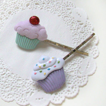 Cupcake Hair Pins, Kawaii Hair Pins, Cute Little Girl Hair Pins, Spring Hair Pins, Easter Basket Gift, Pastel Hair Pins, Pastel Goth