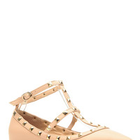 Nude Faux Leather Studded Pointed Toe Ankle Strap Flats