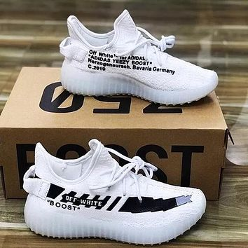 ADIDAS x Off White Yeezy Boost 350 V2 Tide brand classic sneakers White