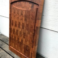 Vintage Digsmed Design Cutting Board, Teak, IOB, Denmark, Mid Century Large Wood Cutting Board with Juice Channel, 1960s-1970s