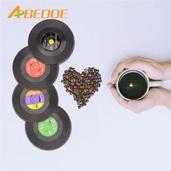 DCCKU7Q ABEDOE 4 Pcs Home Table Cup Mat Creative Decor Coffee Drink Placemat for Table Spinning Retro Vinyl CD Record Drinks Coasters