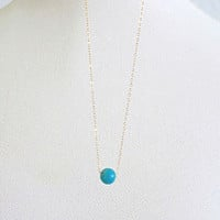Simple Turquoise Necklace, 14k Gold Fill or Sterling Silver Chain, Delicate Gemstone Necklace, Dainty Necklace Gold, Bridesmaids Gift