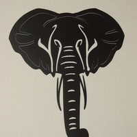 African Elephant 16 Gauge Steel 14 Inch X 12 1/2 Metal Wall Art