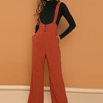 Rust Buttoned Trim High Waist Suspender Jumpsuit