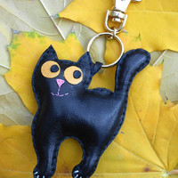 Keychain, charm, leather keychain, leather cat, cat charm, accessories for bag, leather accessories, black