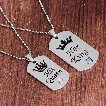 Cool Her King His Queen Necklaces Valentine'S Day Gift Lettering Necklaces Pendants Couple Crown Necklace Beads Chain For Lovers GiftAT_93_12