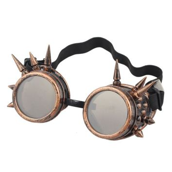 Women Men Summer Fashion Sunglasses Rivet Steampunk Windproof Mirror Vintage Gothic Lenses Goggles Glasses lunette de soleil A0