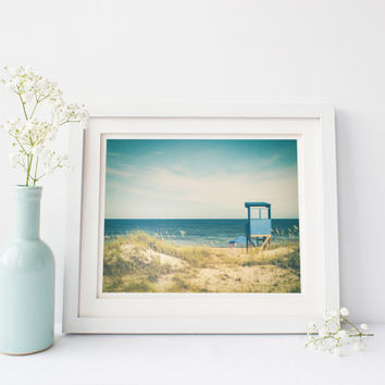 Beach photography, lifeguard stand along ocean, vintage photography, travel, summer, Kure Beach, North Carolina, wall art, home decor, dunes