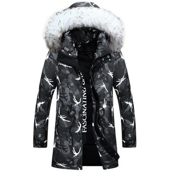 New winter jacket Men's fashion camouflage pattern Long Jacket Thickening casual hooded fur collar white duck down coats
