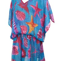 Mogul Interior Womens Short Kaftan Blue Shell Printed Cover up Beach Dress One Size