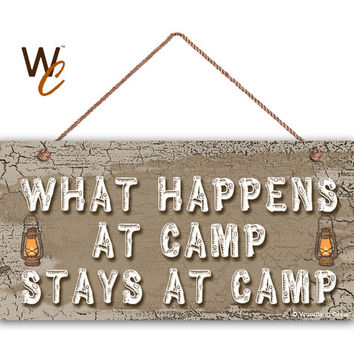 "What Happens At Camp Stays At Camp Sign, Rustic Decor, Earthy Tones, Lanterns,  Weatherproof, 5"" x 10"" Sign, Great Outdoors, Made To Order"